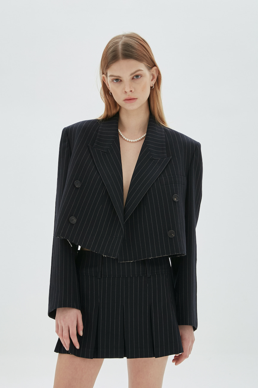 [DROP 2] PIN-STRIPE CROPPED JACKET